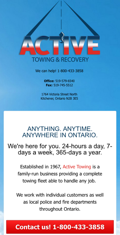 ActiveTowing.ca - Homepage - Mobile View