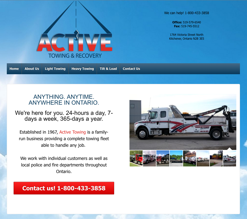 ActiveTowing.ca - Homepage - Full Screen View
