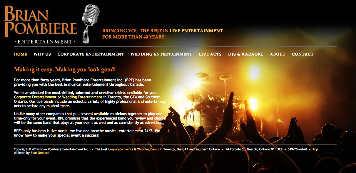 www.BPLiventertainment.com - Homepage - Full Screen View