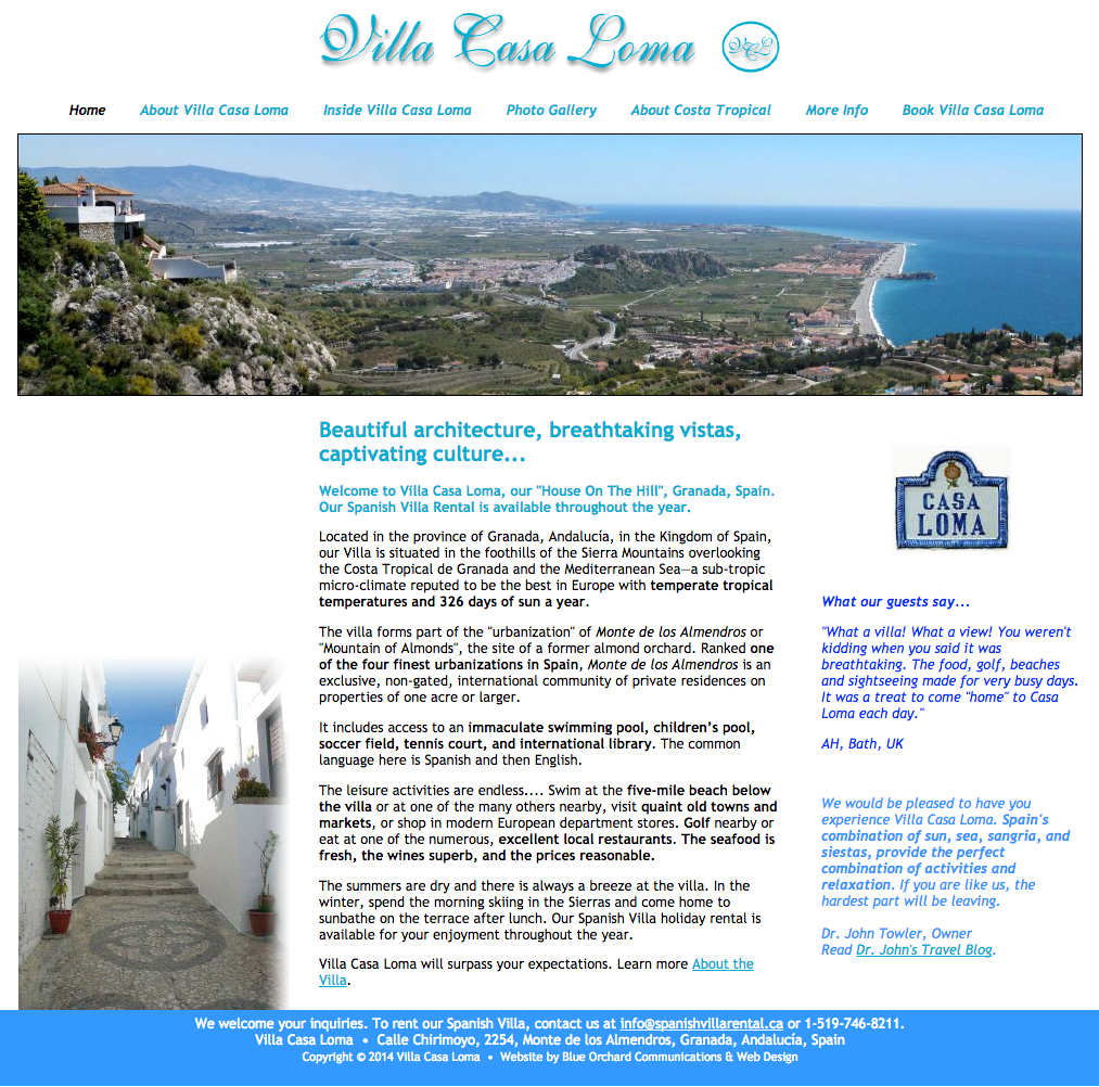 SpanishVillaRental.ca - Homepage