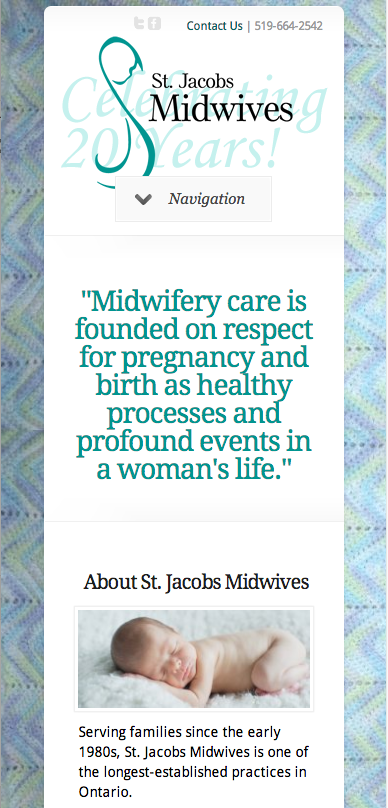 StJacobsMidwives.on.ca - Homepage - Mobile View