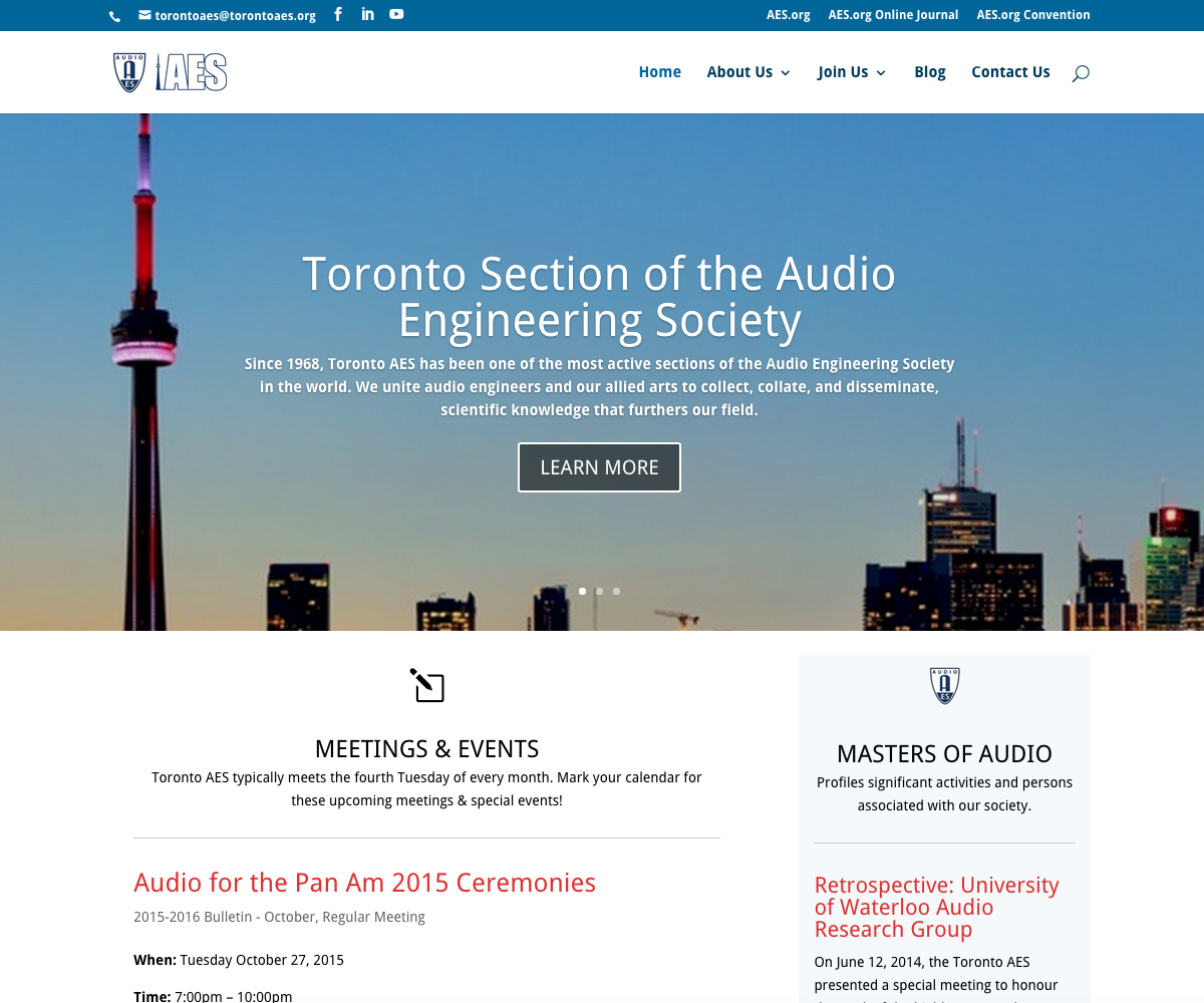 TorontoAES.org - Homepage - Full Screen View