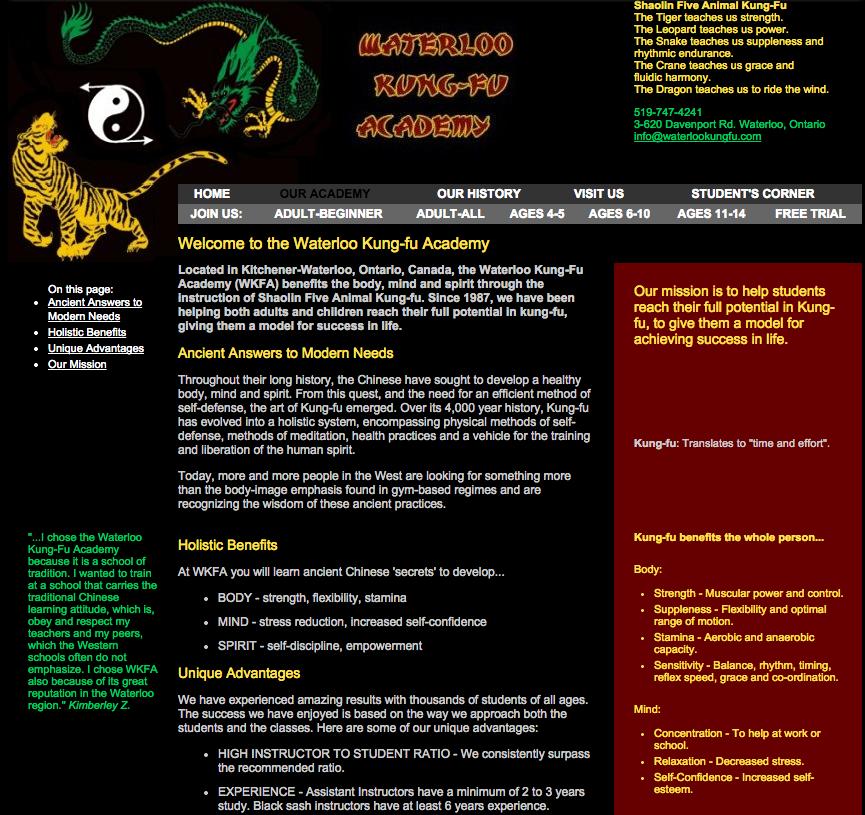 WaterlooKungFu.com - Previous Website
