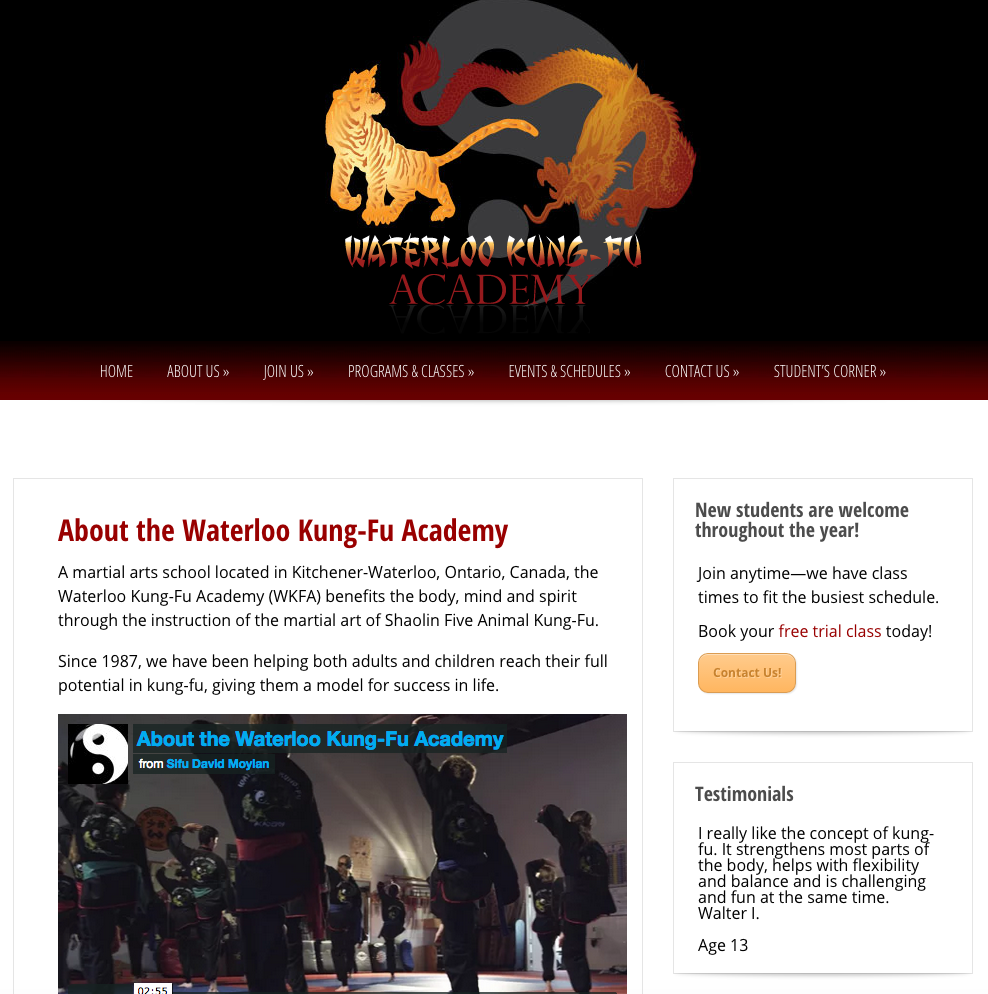 WaterlooKungFu.com - About Us - Full Screen View
