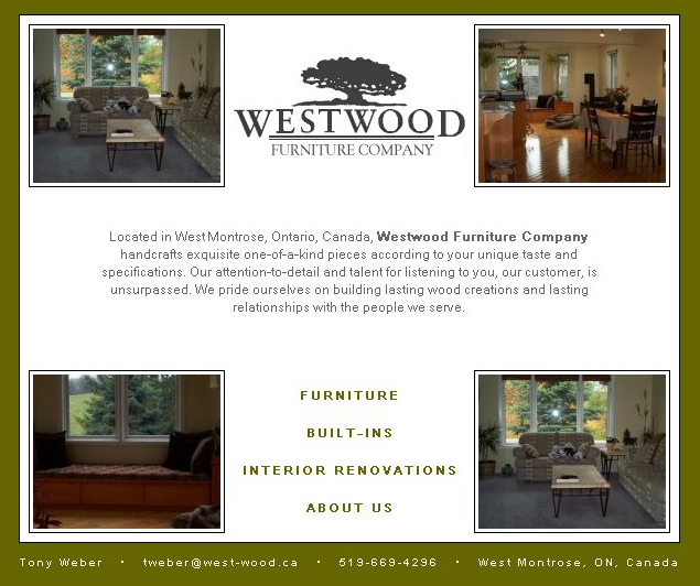 WestwoodFurniture.ca - Original Website - 2003