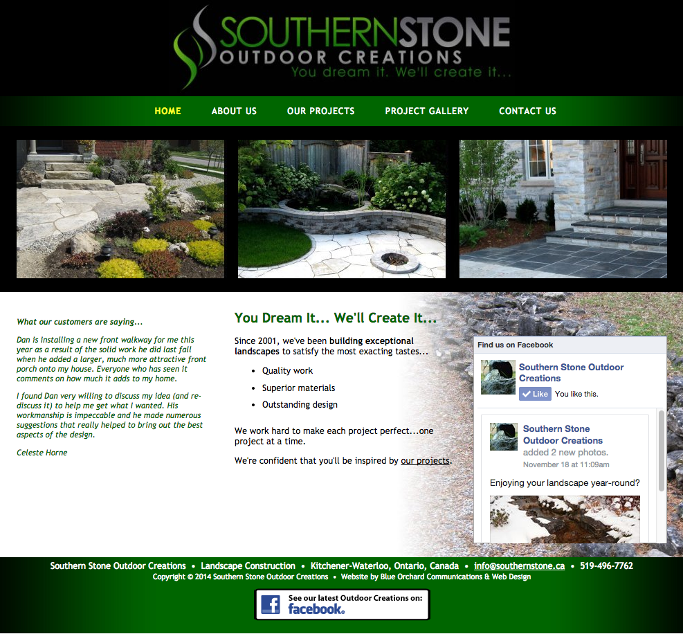 SouthernStone.ca - Homepage - Full Screen View