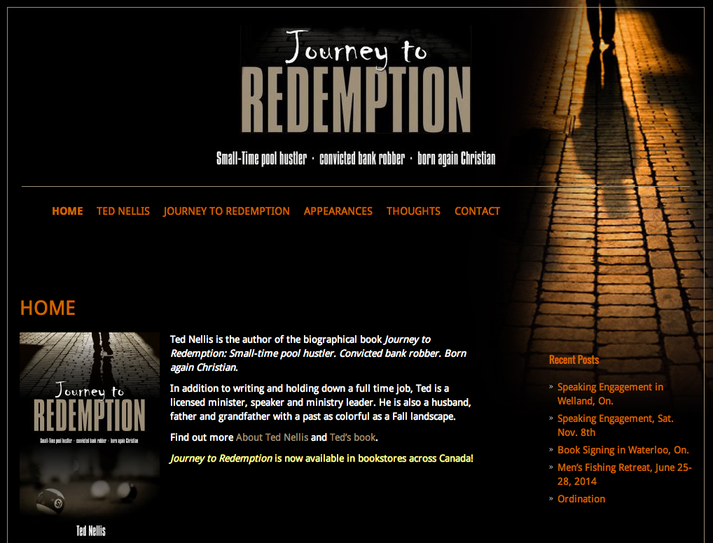 TedNellisRedemption.com - Homepage - Full Screen View