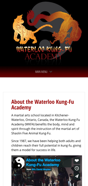 WaterlooKungFu.com - About Us - Mobile View