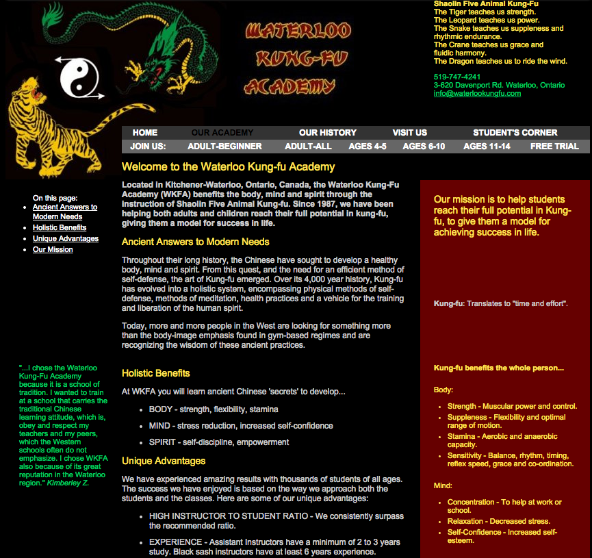 WaterlooKungFu.com - Previous Website